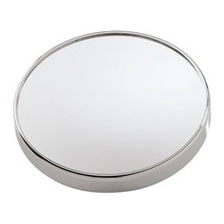 """Gedy by Nameeks - Mirrors Makeup Mirror - A high-end wall-mount cosmetic mirror made in high quality mirror and metal and coated in chromed. This magnified mirror from the Gedy Mirrors collection is a contemporary-style magnifying mirror. Features: -Mirrors collection. -Chrome finish. -Materials: Mirror, thermoplastic resins. -Free standing. -Magnification: 5x. -Free standing. -Made in Italy. Specifications: -Overall dimensions: 7.87"""" H x 1.18"""" W x 7.87"""" D."""