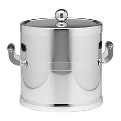 Kraftware - Americano 3-qt. Ice Bucket in Shiny Chrome w Wooden Side Handles - Wooden band. Metal cover. Made in USA. 9 in. Dia. x 9 in. H (3 lbs.)The Grant Signature Home Collection's Americano Collection is the only Real Metal Collection in the U.S.A. This is real home entertaining quality at affordable prices.