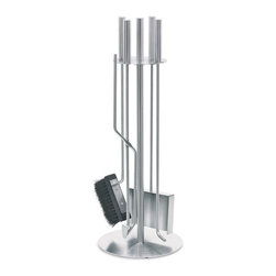 Blomus - Chimo Round Fireplace, Set of 5 - The maintenance crew has arrived. And a spiffier looking lot you're not likely to find. This stainless steel 5-pc. fireplace tool set will be on hand whenever you need it.