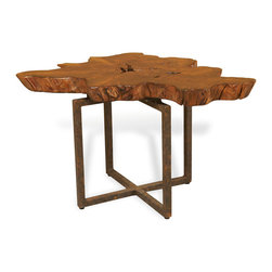 Kathy Kuo Home - Harrer Rustic Lodge Teak Root Iron Abstract Side End Table - Polished teak root has unique details and dimensions, accenting any décor from rustic to modern. Each table top has variations in pattern and dimension that contrast with the straight lines and right angles of the square iron base.