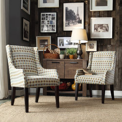 Inspire Q - INSPIRE Q Jourdan Diamond Impressions Sloped Arm Hostess Chair - This Kiefer chair offers unparalleled comfort and style with sloping track arms and a deep,cushioned seat. The lovely accent chair is a perfect addition to your home decor with a stunning pattern and stylish color scheme.