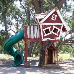 Daniels Wood Land Tommys Turbo Terrace Outdoor Wood Tree Playhouse - The kids will have hours of fun playing and making memories with Tommy's Turbo Terrace. Featuring a playhouse set atop a real hollowed out log your kids will enjoy entering through a trapdoor in the floor and exiting down the long turbo slide. The crooked windows balcony and front porch add to the whimsical look of this playhouse that will feed your children's imaginations and make them soar. Perfect for secret meetings afternoon tea or even a summer sleepover you'll love watching your kids put their imaginations to use.Features of the standard model Tommy's Turbo Terrace:Real hollowed-out log - approx 4-feet diam.Log porch door and window with eave4 x 5 foot standard clubhouse floor4 crooked windowsLeft side 4 x 5 foot balconyLeft side spiral turbo slideRight side log windowRust accent packageLadder in hollow logClubhouse trapdoorMeasures 13.6W x 9D x 15H feet In addition to what's listed above the deluxe model Tommy's Turbo Terrace has these extra or enhanced features:Real hollowed-out log - approx. 5-feet diam.5 x 6 foot oversized clubhouse floor6 x 6 foot oversized balcony floorStaircase with landingRoof dormerBelt swingMeasures 20W x 12D x 15H feet All of our tree houses have two main pieces: the playhouse and the log. The entrance is made from an actual fallen old log which is hollowed out with a chainsaw and the house which is crafted from redwood or cedar is on top. To get in simply enter the door on the log climb the ladder and go through the trap door to find yourself inside. These playhouses are an amazing addition to your landscaping whether or not you have kids!Each tree house is unique in its own way because no two logs are exactly alike. The tree houses average 15-feet tall and the logs average 4-feet in diameter and while a bit snug there is more than enough room for a large adult to climb inside and stand up straight. You will need to have a forklift for the day of delivery and installation.