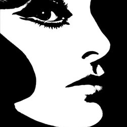 "Phyllis Morris - SuperStar! Wallpaper, Black & White - Pop Art for your walls! The iconic SuperStar! face was first introduced in the 1960s by Ms. Phyllis Morris and over the decades this enigmatic image has created a dramatically bold statement wherever it is used. Black & White and White & Pearlescent colorways are offered on heavyweight matte vinyl; Black & Gold colorway is offered on matte gold paper. Untrimmed roll contains six faces; each face measures 29"" W x 35"" H, except for Black & Gold face which measures 26"" W x 35"" H each. Printed in the USA."