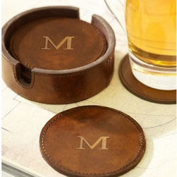 Saddle Leather Drink Coasters - Coasters are all about protecting your precious furniture. These do it in style.