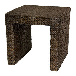 "Oriental Furniture - Rush Grass End Table - Red Brown - There's a growing trend in American home decor toward the eclectic, unique, and exotic. These amazingly affordable rush grass end tables seem to have caught that wave. Elegant and simple, crafted from ecologically sustainable woven rush grass on kiln dried wooden framing. The beauty and simplicity of the design, as well as the soft, Earthy look and feel of rush grass itself, have helped make these little tables quite popular. The height is right for a lamp next to a sofa or easy chair, and the rustic finish does not scratch or dent as easily as wood furniture. The term ""shabby chic"" is sometimes used for natural fiber furnishings, and we think it makes sense for these low cost, high quality end tables."
