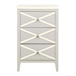 Safavieh - Sherrilyn 3 Drawer Side Table - Grey/ White - The easy-going nature of the Sherrilyn 3-drawer side table gets done up in fresh pastels, shown here in grey finished poplar with charming contrasting white top and x-details on front. A relaxed piece that��_s functional and sweet for any room needing extra storage.
