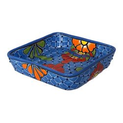 Guava Home - Talavera Serving Tray - This dazzling Talavera serving tray is a conversation starter. The beautiful colors and unique patterns of this tray make it a special item. Add that southwestern charm to your kitchen or table décor. Talavera serving trays are handmade and are lead free.