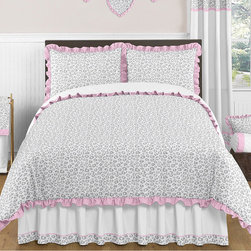 Sweet Jojo Designs - Sweet Jojo Designs Girls Kenya 3-piece Full/Queen Comforter Set - Give your child a hint of style and color with this subtle animal-print comforter set by Sweet Jojo Designs. With a soft pink ruffle trim and trendy print,this cozy comforter is the perfect way to give your daughter the personalized touch she craves.