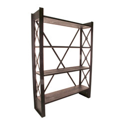 Kathy Kuo Home - Industrial Loft Reclaimed Wood Bookcase - Ever gone to the library and wished you could also bring the furniture home?  Here's your chance!  Take home all of the functional and atmospheric charm of industrial modern library shelves without ever having to pay a late fee!