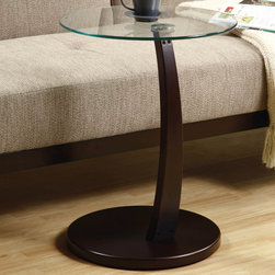 """Monarch - Cappuccino Bentwood Accent Table with Tempered Glass - This bentwood accent table provides a convenient solution for placing snacks or drinks while sitting on a sofa. A circular cappuccino base and stand offer sturdy support, while a tempered glass top has plenty of space for putting a cup of tea, bag of popcorn, or bowl of ice cream. Its structure is also curved gently forward so you don't have to constantly get up or uncomfortably stretch to set your snacks aside. Functional and stylish, this piece is a must-have for any living room.; Assembly required; Weight: 14 lbs; Dimensions: 18""""L x 18""""W x 24""""H"""