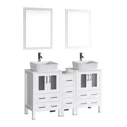 """Bosconi - 60"""" Bosconi AB224RC1S Double Vanity, White - Explore a classically modern touch with this 60"""" glossy white Bosconi double vanity set. The ceramic, rectangular vessel sinks and perfectly coordinating mirrors lend to a smart and efficient design. Features include two spacious cabinets with soft closing doors, as well as, one detached side cabinet with three pull out drawers. Plenty of space to store your towels, toiletries and bathroom accessories."""