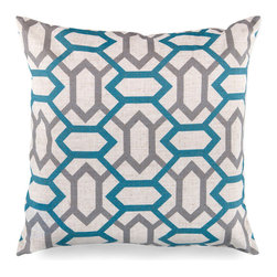 Chainlink Pillow - Teal And Grey - A spikier take on the serenity and balance of garden-inspired lattice patterns, the Chainlink Pillow's design has just a hint of edge in its symmetrical Teal and Grey lines. The cool palette, all-over patterning, and sleek edges make this pillow an updated, transitional choice for completing the expressions of your color scheme on a sofa, bed, or chair.