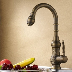 JollyHome - JollyHome Carved Antique Kitchen Faucet Bronze - Complete parts and all install fittings are included.Water pressure tested for industry standard.Easy to keep clean and maintain.Ceramic valve core
