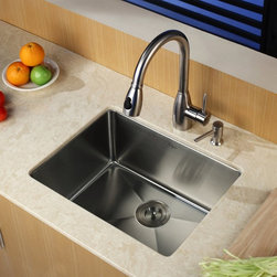 Kraus - Kraus KHU101-23-KPF2130-SD20 Single Basin Undermount Kitchen Sink with Faucet Mu - Shop for Kitchen from Hayneedle.com! For a clean and chic look in your kitchen the Kraus KHU101-23-KPF2130-SD20 Single Basin Undermount Kitchen Sink with Faucet is the perfect addition. Its arching faucet can double as a strong sprayer operating with a twist of a single lever. You can trust in the stainless steel construction to last and last against corrosion for years to come.Product SpecificationsBowl Depth (inches): 10Weight (pounds): 27Low Lead Compliant: YesEco Friendly: YesMade in the USA: YesHandle Style: LeverValve Type: Ceramic DiscFlow Rate (GPM): 2.2Spout Height (inches): 8Spout Reach (inches): 10About KrausWhen you shop Kraus you'll find a unique selection of designer pieces including vessel sinks and faucet combinations. Kraus incorporates its distinguished style with superior functionality and affordability while maintaining highest standards of quality in its vast product line. The designers at Kraus are continuously researching and exploring broader markets seeking new trends and styles. Additionally durability and reliability are vital components at Kraus for developing high-quality fixtures. Every model undergoes rigorous testing and inspection prior to distribution with customer satisfaction in mind. Step into the Kraus world of plumbing perfection. With supreme quality and unique designs you will reinvent how you see your bathroom decor. Let your imagination become reality!