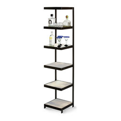Hattie Etagere - Presenting elegant open storage without blocking views or intruding on your wall color, the Hattie tag re is a cantilever design with an open back, further lightened by the antique mirror squares laid into each of its six shelves. Framed in black iron for a stately look, this sleek but distressed piece is superb for baths as well as for general display.