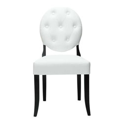 Modway - Button Dining Side Chair in White - Playing off the whimsical spatial elements of the Button Chair, this buttoned vinyl installment gives transparency a home. Bring light-filled moments inward with an inner sense of laughter and delight. With its padded white vinyl seating and black legs, settle fancy as you uncover yet greater horizons.