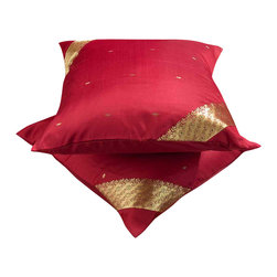 Indian Selections - Set of 2 Maroon Decorative Handcrafted Sari Cushion Cover, 16x16 inches - 6 Sizes available