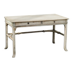 Uttermost - Uttermost 25602  Bridgely Aged Writing Desk - Plantation-grown mango wood makes up the solid, carved and dovetail construction with deep-grained mindi veneer in an aged white finish with antique brass drawer pulls.