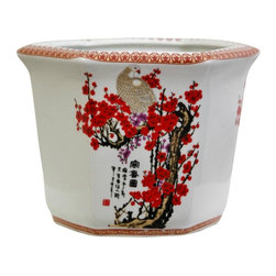 "Oriental Furniture - 10"" Cherry Blossom Porcelain Flower Pot - An oriental hexagon-shaped planter pot with vibrant cherry blossoms, white cranes and authentic black calligraphy accents. One of our four 10-inch planters. Great display for flowers, houseplants, small trees, or dry flower arrangements; has pre-drilled drainage hole for watering live plants."