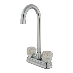 Kingston Brass - Two Handle 4in. Centerset High-Arch Bar Faucet - This double handle centerset high-arch bar faucet features a transitional look that offers a new way for lovers of traditional and modern style to coordinate their kitchen. The faucet provides a two-hole sink application and a 1/4-turn on-and-off mechanism for controlling the flow of water. The item is fabricated in high-quality brass and is crafted to ensure years of reliable performance; also comes in a variety of finishes to allow you options when creating/improving your bar setting.