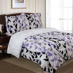 Divatex - Divatex Home Fashions Grace Bedding Set - Purple - 451961 - Shop for Bedding Sets from Hayneedle.com! The color of royalty but with a distinctively modern twist the Divatex Home Fashions Grace Bedding Set - Purple has the kind of style that'll make the bedroom your favorite room in the house. The reversible microfiber set features a gorgeous contemporary leaf print that's sure to perk up the design of your home. Available in your choice of sizes.About Divatex Home Fashions Inc.Initially a family owned and operated business Divatex has far outgrown its humble beginnings in 1990 and has expanded the world over. Divatex is constantly looking to improve its products and examines both emerging trends and technologies in the textile industry and consumer marketplace. For the bedroom and bath from sheets to towels Divatex is quickly becoming an industry giant while still remaining committed to quality and customer service.