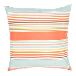 Jaipur - Veranda Shell Aqua 18-Inch Decorative Pillow - - These fashion forward pillows in trellis stripes and whimsical patterns are for both indoor and outdoor use      - Care Instructions: Remove the throw pillow's cover if it is removable. Wash the cover separately from the pillow. Pre-treat badly soiled or stained areas on the pillow cover with a color-safe prewash spray. Rub the spray into the stain with a damp sponge. Wash the pillow cover or the whole pillow on a gentle-wash cycle in warm water with a very mild detergent. Detergent for delicate fabrics or baby clothes is usually suitable. Remove the pillow or pillow cover as soon as the washing machine has ended the cycle and has shut off. Hang the pillow or cover up to dry in a well-ventilated area. If the care label specifies that the item is dryer-safe place the pillow or pillow cover in the dryer and tumble dry on low heat. Fluff the pillow once it is dry in order to maintain its form. Don't use the pillow until it is completely dry. Damp pillows will attract dirt more easily  - Made in USA Jaipur - PLW101772
