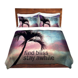 DiaNoche Designs - Duvet Cover Microfiber - Find Bliss I - DiaNoche Designs works with artists from around the world to bring unique, artistic products to decorate all aspects of your home.  Super lightweight and extremely soft Premium Microfiber Duvet Cover (only) in sizes Twin, Queen, King.  Shams NOT included.  This duvet is designed to wash upon arrival for maximum softness.   Each duvet starts by looming the fabric and cutting to the size ordered.  The Image is printed and your Duvet Cover is meticulously sewn together with ties in each corner and a hidden zip closure.  All in the USA!!  Poly microfiber top and underside.  Dye Sublimation printing permanently adheres the ink to the material for long life and durability.  Machine Washable cold with light detergent and dry on low.  Product may vary slightly from image.  Shams not included.