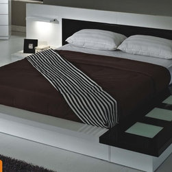 Contemporary, Modern Bedroom Collection - American Eagle TOLEDO Modern White And Black High Gloss Bed With Built-in Lighting And Nighstands