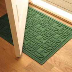 Bungalow Flooring - 24 in. L x 36 in. W Light Green Waterguard Nautical Mat - Made to order. Nautical design traps dirt, resists fading, rot and mildew. Indoor and outdoor use. 24 in. L x 36 in. W x 0.5 in. H