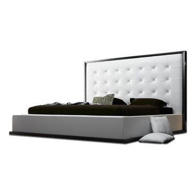 Modloft - Ludlow Wenge Modern Platform Bed   White Leather, Cal King - The impressive Ludlow Modern Wenge-White Leather Platform Bed owns instant attention when entering a room. The lavish tufted leatherette headboard stands five feet tall, and gracefully fits to any decor.
