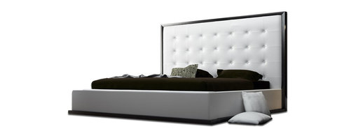 Modloft - Ludlow Wenge Modern Platform Bed | White Leather, Cal King - The impressive Ludlow Modern Wenge-White Leather Platform Bed owns instant attention when entering a room. The lavish tufted leatherette headboard stands five feet tall, and gracefully fits to any decor.