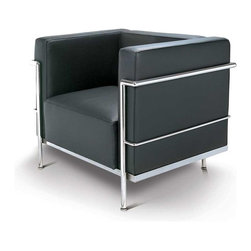 Fine Mod Imports - Grand Le Corbusier Accent Chair in Black Leather - Features: