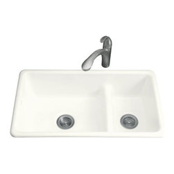 KOHLER - KOHLER Iron/Tones Smart Divide Self-Rimming or Undercounter Kitchen Sink - KOHLER K-6625-0 Iron/Tones Smart Divide Self-Rimming or Undercounter Kitchen Sink in White