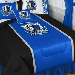 Sports Coverage - NBA Dallas Mavericks Sidelines Comforter and Sheet Set Combo - Full - This is a great NBA Dallas Mavericks Bedding Comforter and Sheet set combination! Buy this Microfiber Sheet set with the Comforter and save off our already discounted prices. Show your team spirit with this great looking officially licensed Comforter which comes in new design with sidelines. This comforter is made from 100% Polyester Jersey Mesh - just like what the players wear. The fill is 100% Polyester batting for warmth and comfort. Authentic team colors and logo screen printed in the center.   Microfiber Sheet Hem sheet sets have an ultrafine peach weave that is softer and more comfortable than cotton.  Its brushed silk-like embrace provides good insulation and warmth, yet is breathable.  The 100% polyester microfiber is wrinkle-resistant, washes beautifully, and dries quickly with never any shrinkage. The pillowcase has a white on white print beneath the officially licensed team name and logo printed in vibrant team colors, complimenting the NEW printed hems. The Teams are scoring high points with team-color logos printed on both sides of the entire width of the extra deep 4 1/2 hem of the flat sheet.  Includes:  -  Flat Sheet - Twin 66 x 96, Full 81 x 96, Queen 90 x 102.,    - Fitted Sheet - Twin 39 x 75, Full 54 x 75, Queen 60 X 80,    -  Pillow case Standard - 21 x 30,    - Comforter - Twin 66 x 86, Full/Queen 86 x 86,