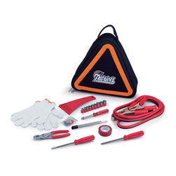 Picnic Time - New England Patriots Roadside Emergency Kit - Roadside peace of mind is possible with this team-themed emergency kit that includes essential tools like jumper cables, fuses, work gloves, a nine-piece ratchet set and more. The triangular-shape tote features easy carry handles and doubles as a reflective hazard warning sign.   Includes tote, set of jumper cables, ice scraper, tire pressure gauge, nine-piece ratchet set, pair of slip joint pliers, flat-head screwdriver, Phillips screwdriver, red electrical tape, 10 amp, two 15 amp and 20 amp automotive fuses, work gloves, and six ring and spade terminals Tote: 12'' W x 12'' H x 3.5'' D Jumper cables: 8.2' L Ratchet sockets: 3/16'' to 1/2'' Flat-head and Phillips screwdriver: 7.25'' L Tote: polyester Jumper cables: 15-gauge copper wire Ice scraper: plastic Gloves: cotton blend Spot clean Imported