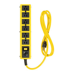 Coleman Cable - Yellow Jacket 6 Outlet Met Strip 6' Cord - 6 OUTLET 6' METAL YELLOW JACKET STRIP. Features: 6 Outlets 6 ft. Yellow Jacket cord, Metal Housing. Conveniently and safely add outlets anywhere you need them. Note: These products have no surge suppress and will not protect against power surges. Applications: Home, workshop or office. Industry Approvals: UL / cUL or CSA Listed