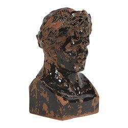 Howard Elliott - Rustic Ceramic Glazed Ancient Roman Male Bust - Rustic Ceramic Ancient Roman Male Bust, finished in a black raku glaze.