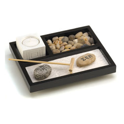Koolekoo - Tabletop Zen Garden Kit - Enjoy your own private Zen garden, even if you're short on space! Nifty tabletop box contains every essential��_ sand, rocks, candleholder and rake, to create a serenely scenic escape from the everyday.