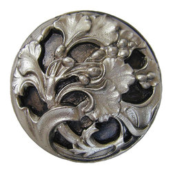 """Inviting Home - Florid-Leaves Knob (satin nickel) - Hand-cast Florid-Leaves Knob in satin nickel finish; 1-3/8"""" diameter Product Specification: Made in the USA. Fine-art foundry hand-pours and hand finished hardware knobs and pulls using Old World methods. Lifetime guaranteed against flaws in craftsmanship. Exceptional clarity of details and depth of relief. All knobs and pulls are hand cast from solid fine pewter or solid bronze. The term antique refers to special methods of treating metal so there is contrast between relief and recessed areas. Knobs and Pulls are lacquered to protect the finish. Detailed Description: The design of Florid Leaves pulls and Florid Leaves Bin Pulls is reminiscent of the Ginkgo plant with the Ginkgo berries. Ginkgo is believed to be a great source of energy and that is what the pulls itself portrays. The wispy leafy branches looks as if they are swaying in the wind by the way that they are twisting and turning into all kinds of directions. They would go beautifully with the Florid Leaves knobs"""