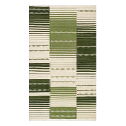"Loloi Rugs - Loloi Rugs Rio Collection - Green, 3'-6"" x 5'-6"" - Looking for a rug that combines the best of both style and durability? Then consider a Rio. Hand woven in India of 100% New Zealand wool, we have re-imagined typical flat weaves by way of contemporary design. Each Rio also features nuanced variations in color throughout the rug for added beauty. Best of all, these rugs are durable, reversible, and crafted to withstand plenty of foot traffic."