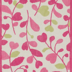 """Loloi Rugs - Loloi Rugs Zoey Collection - Pink / Green, 5'-0"""" x 7'-0"""" - Zoey is a delightful collection of lighthearted, cheerful patterns in pinks, blues and greens that are perfect for young kids or the young at heart. Power loomed in China of super soft polyester microfiber, Zoey rugs are durable, yet soft enough for infants and toddlers to cozy up to.�"""