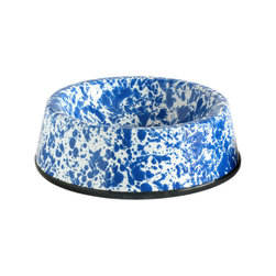 Crow Canyon Home - Pet Bowl, Large, White and Blue Splatter - Spruce up your furry friend's nook with these enamel water and food bowls.