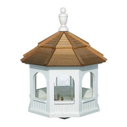 Fifthroom - Mayfield Painted Gazebo Birdfeeder - Over the past several years, gazebos have become very fashionable venues for holding outdoor dinner parties.  This trend has also caught on in the bird world, where our Mayfield Painted Gazebo Birdfeeder is among their most-preferred places to eat and socialize.  Constructed from sturdy, pressure-treated wood, it's durable, decay-resistant, and designed for year-round use.  Available in large and small sizes, it will be a favorite stop for a variety of birds, no matter where they rank in the pecking order.