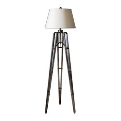 Uttermost - Uttermost Carolyn Kinder Floor Lamp in Oxidized Bronze - Shown in picture: The Tripod Base Has An Oxidized Bronze Finish With Gold Undertones. The tripod base has an oxidized bronze finish with gold undertones. The round hardback shade is an off-white linen hardback.