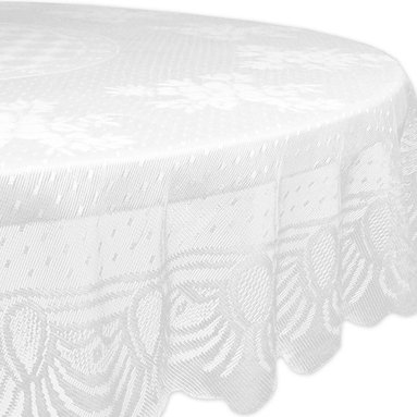 Design Imports - Round Floral Lace Tablecloth - Add a sweet floral touch to dining room décor with this eye-catching tablecloth. It's a great way to keep tables free from dings and scratches.   54'' x 72'' 100% polyester Machine wash; tumble dry Imported