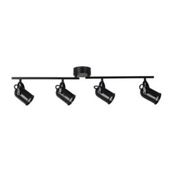 Eyarn - Eyarn 4-Light LED Black Bullet Track Lighting 18814-000 - Shop for Lighting & Fans at The Home Depot. This 4 light Dimmable LED fixed track lighting offers warmth and charm to most styles while providing functionality and savings as it is the ultimate in energy efficient technology. The adjustable track heads allow you to cast directional lighting on any area within a room. High Power LED technology provides the best in light output while maintaining cool operating temperatures and instant On /Off and fully dimmable benefits. LED lights have an extremely long lifespan, meaning No Bulbs No Replacements No Waste. Enjoy beautiful lighting while saving money.