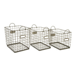 iMax - Newbridge Wire Storage Baskets, Set of 3 - Great for linens, magazines and many other items, this collection of Newbridge wire baskets is perfect for a variety of storage uses.