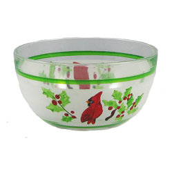 Golden Hill Studio - Cardinal 6-Inch Bowl - With its holly leaves and red and green motif, this delightful hand-painted bowl is certainly ready for your holiday table — but don't pigeon hole it — it's a great choice for everyday use. Perfect for salads, fruit or, well, anything you put in a bowl, you'll love it on your table.