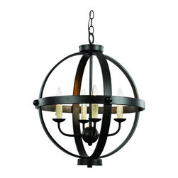 Trans Globe Lighting - 70594 ROB 4 Light Pendant - AdjustableSphere Collection - Middle ages candelabra pendant with spherical influences and bound in bronze bands. Wax drip candle sleeves add ambiance. Open frame makes this fixture perfect over entry way or high ceiling areas. Rustic and captivating.