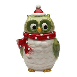 Cosmos - Green Christmas Owl with Red Scarf and Santa Hat Festive Cookie Jar - This gorgeous Green Christmas Owl with Red Scarf and Santa Hat Festive Cookie Jar has the finest details and highest quality you will find anywhere! Green Christmas Owl with Red Scarf and Santa Hat Festive Cookie Jar is truly remarkable.